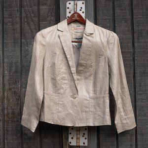 Anthropologie Cream Silver Linen Blazer